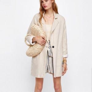 Zara Linen Rustic Sand Cream Oversized Blazer